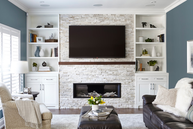 Natural Stone Veneer for Living Room Fireplace