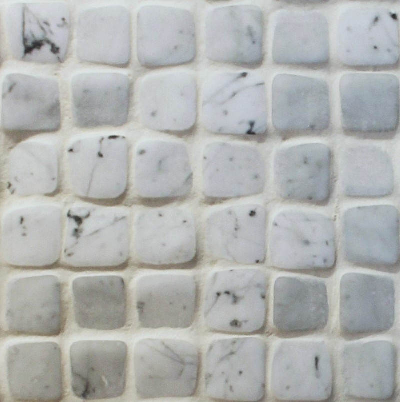 White Bianco Carrera Timeworn Mosaics by ErthCoverings
