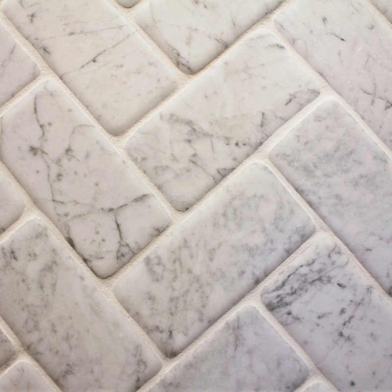 White Bianco Carrera Tile - Antique Polished by ErthCoverings